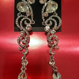 Crystal Silver Prom, Cocktail, Bridal Earrings